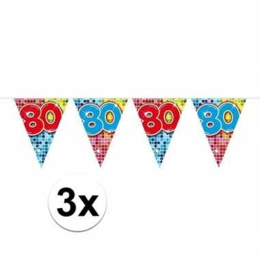 3x mini vlaggenlijn / slinger verjaardag versiering 80 jaar
