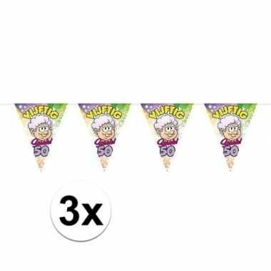 3x sarah 50 jaar vlaggenlijn/vlaggetjes 10 meter