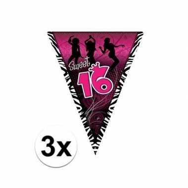 3x sweet 16 slinger zwart/roze 5 meter