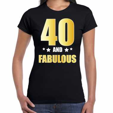 40 and fabulous verjaardag cadeau t-shirt / shirt goud 40 jaar zwart voor dames