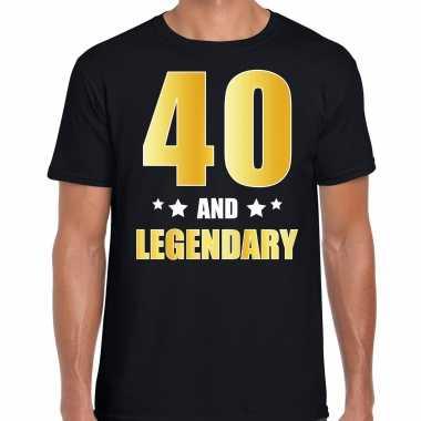 40 and legendary verjaardag cadeau t-shirt goud 40 jaar zwart voor heren