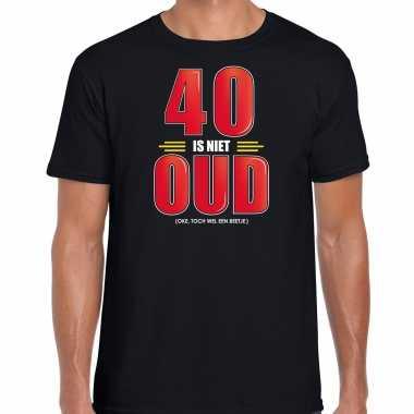 40 is niet oud verjaardag cadeau t-shirt zwart voor heren