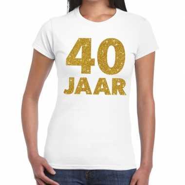 40 jaar goud glitter verjaardag/jubileum kado shirt wit dames