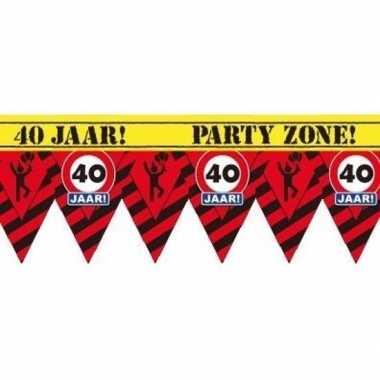 40 jaar party tape/markeerlint waarschuwing 12 m versiering
