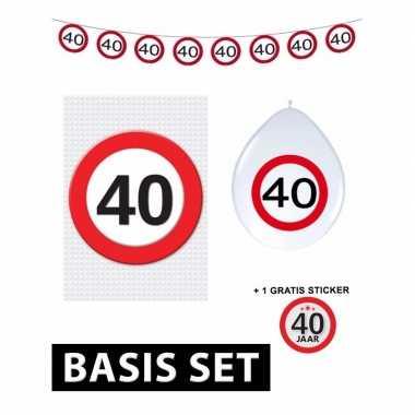 40 jaar versiering pakket verkeersbord basic