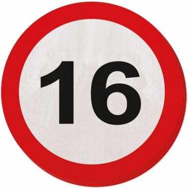 40x 16 jaar leeftijd themafeest servetten verkeersbord 33 cm ron