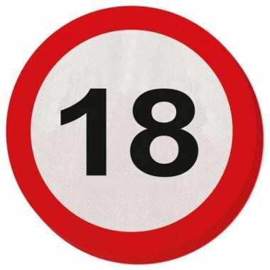 40x 18 jaar leeftijd themafeest servetten verkeersbord 33 cm ron