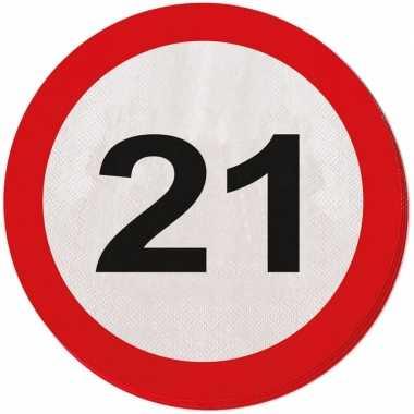 40x 21 jaar leeftijd themafeest servetten verkeersbord 33 cm ron