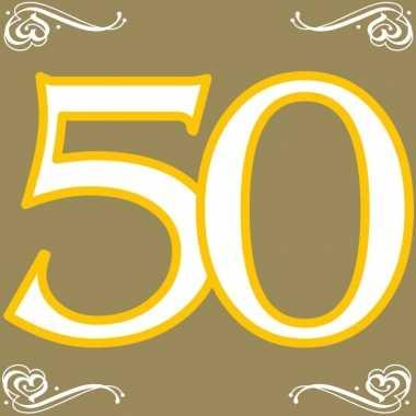 40x 50 jaar leeftijd themafeest servetten goud 33 x 33 cm papier