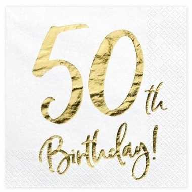 40x 50 jaar leeftijd versiering feest servetten 33 cm