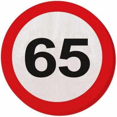 40x 65 jaar leeftijd themafeest servetten verkeersbord 33 cm ron