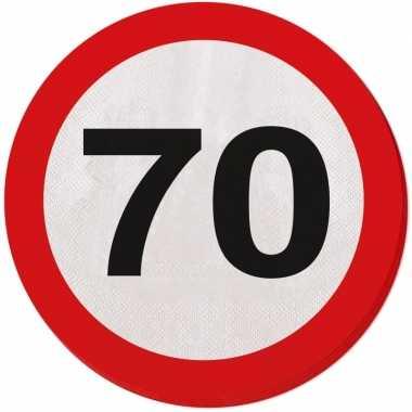 40x 70 jaar leeftijd themafeest servetten verkeersbord 33 cm ron