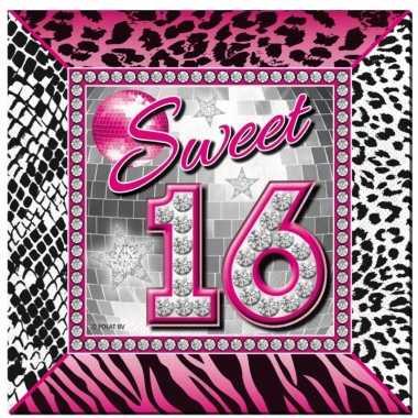 40x sweet 16 themafeest servetten 25 x 25 cm papier