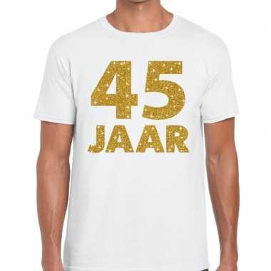 45 jaar goud glitter verjaardag/jubileum kado shirt wit heren