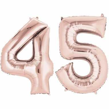 45 jaar versiering cijfer ballon rose goud verjaardag for Versiering goud