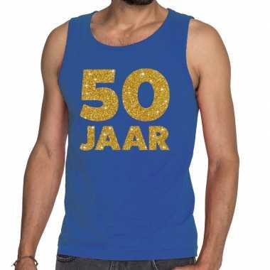 50 jaar glitter tanktop / mouwloos shirt blauw heren