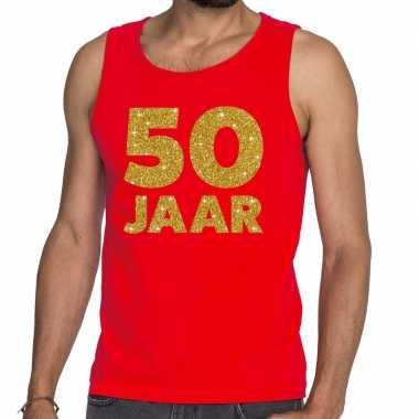 50 jaar glitter tanktop / mouwloos shirt rood heren