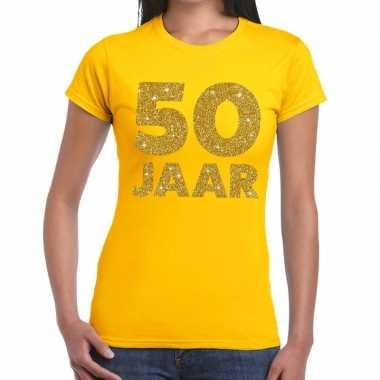 50 jaar goud glitter verjaardag/jubileum kado shirt geel dames