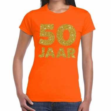 50 jaar goud glitter verjaardag/jubileum kado shirt oranje dames