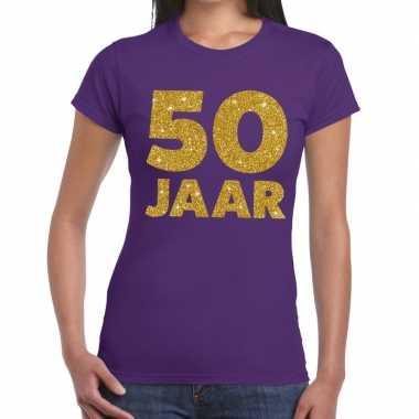 50 jaar goud glitter verjaardag/jubileum kado shirt paars dames