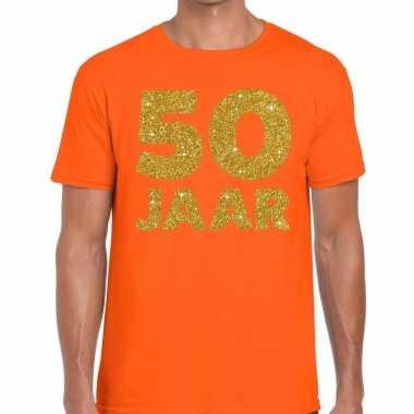 50 jaar goud glitter verjaardag t-shirt oranje heren
