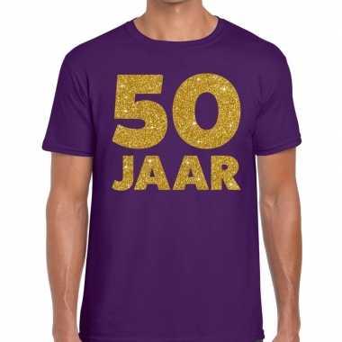 50 jaar goud glitter verjaardag t-shirt paars heren