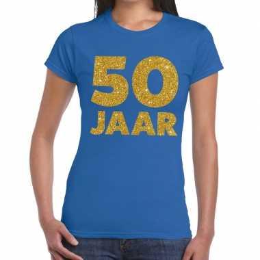 50 jaar gouden glitter tekst verjaardag blauw dames