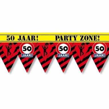 50 jaar party tape/markeerlint waarschuwing 12 m versiering