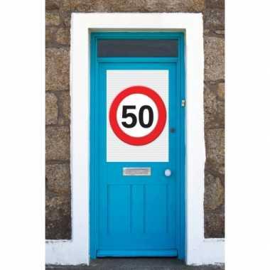 50 jaar verkeersbord deurposter a1