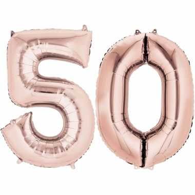 50 jaar versiering cijfer ballon rose goud