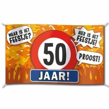 50e verjaardag straatvlag 100x150 cm