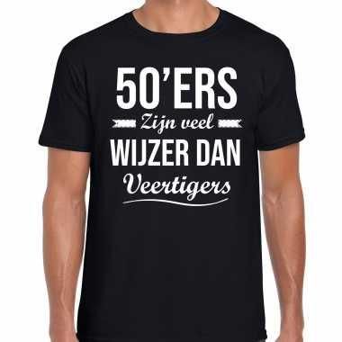 50ers zijn veel wijzer dan veertigers verjaardags t-shirt zwart voor heren
