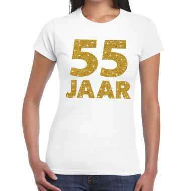 55 jaar goud glitter verjaardag/jubileum kado shirt wit dames