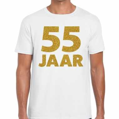 55 jaar goud glitter verjaardag/jubileum kado shirt wit heren