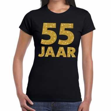 55 jaar goud glitter verjaardag/jubileum kado shirt zwart dames
