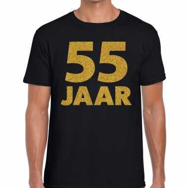 55 jaar goud glitter verjaardag/jubileum kado shirt zwart heren
