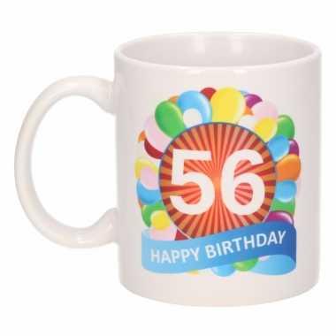 56e verjaardag cadeau beker / mok 300 ml