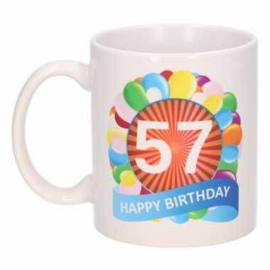 57e verjaardag cadeau beker / mok 300 ml