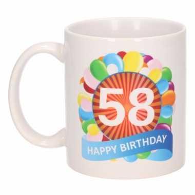58e verjaardag cadeau beker / mok 300 ml