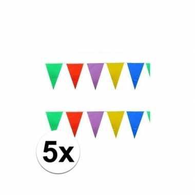 5x stuks feest vlaggenlijnen 10 meter