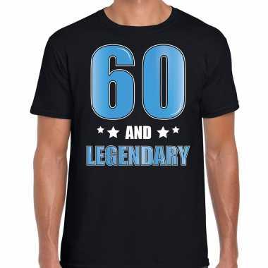 60 and legendary verjaardag cadeau t-shirt 60 jaar zwart voor heren