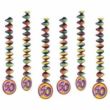 60 jaar decoratie spiralen 6x