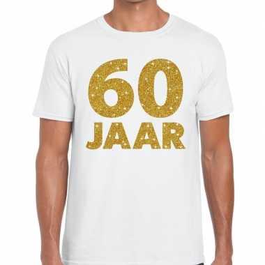 60 jaar goud glitter verjaardag/jubileum kado shirt wit heren