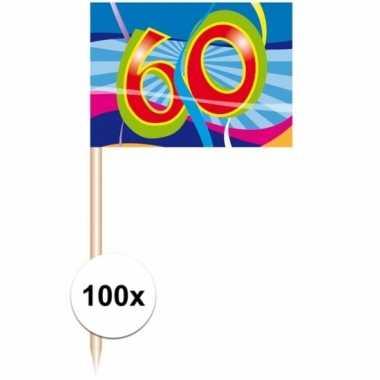 60 jarige cocktail prikkertjes 100 stuks