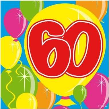60x 60 jaar leeftijd themafeest servetten balloons 25 x 25 cm
