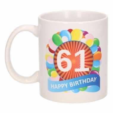 61e verjaardag cadeau beker / mok 300 ml