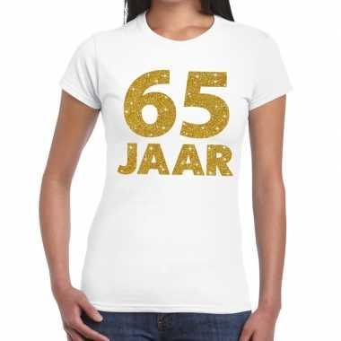 65 jaar goud glitter verjaardag/jubileum kado shirt wit dames