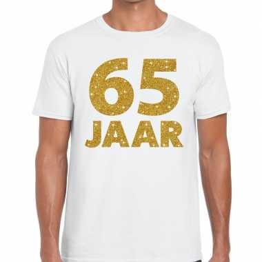 65 jaar goud glitter verjaardag/jubileum kado shirt wit heren