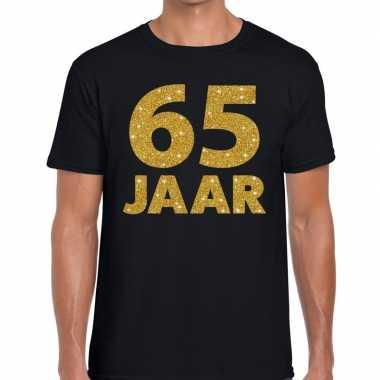 65 jaar gouden glitter tekst t-shirt zwart heren