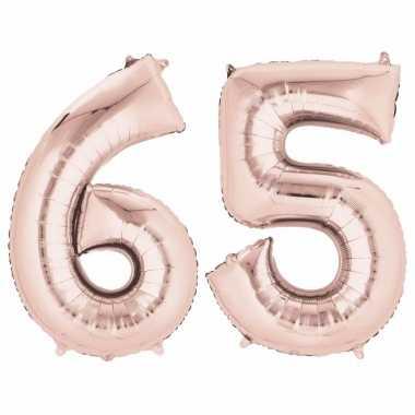 65 jaar versiering cijfer ballon rose goud